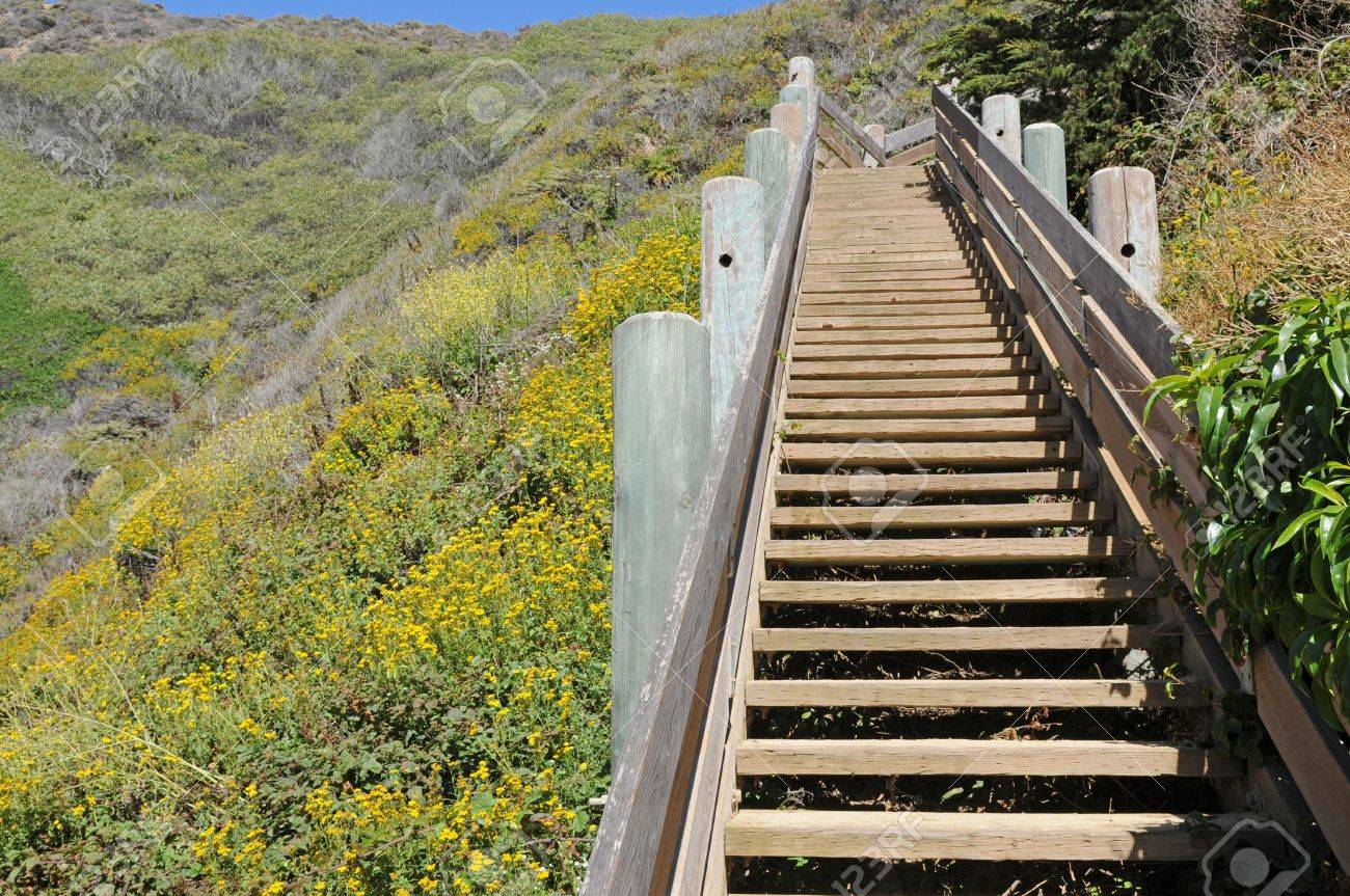 Beach Access Stairway, Graywhale Cove State Beach, Near Montara, California  Stock Photo