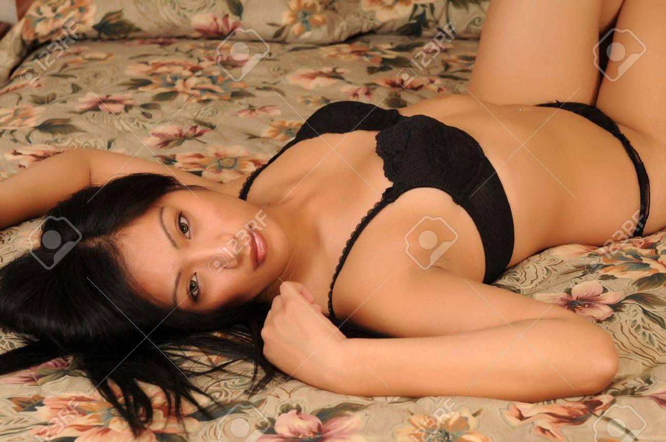 Beautiful Filipino girl in black lingerie Stock Photo - 3844671
