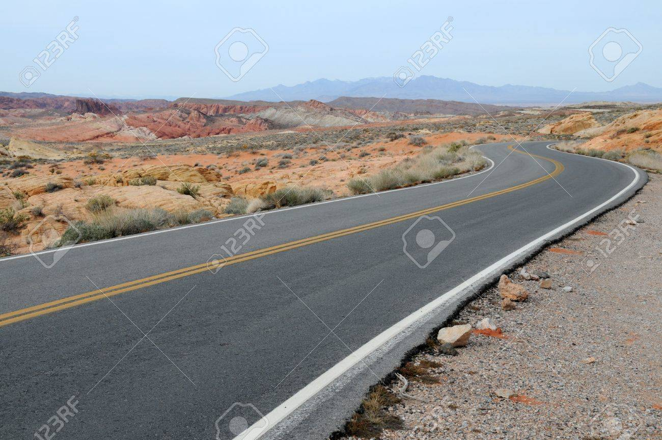 Two lane highway, Valley of Fire State Park, Overton, Nevada Stock Photo - 4416935