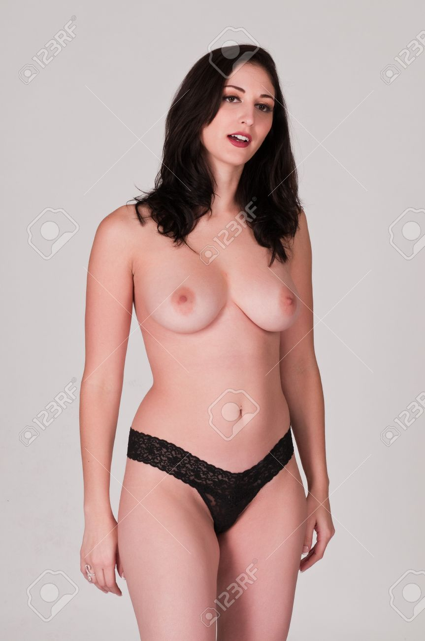Beautiful young topless brunette in black panties Stock Photo - 7871014