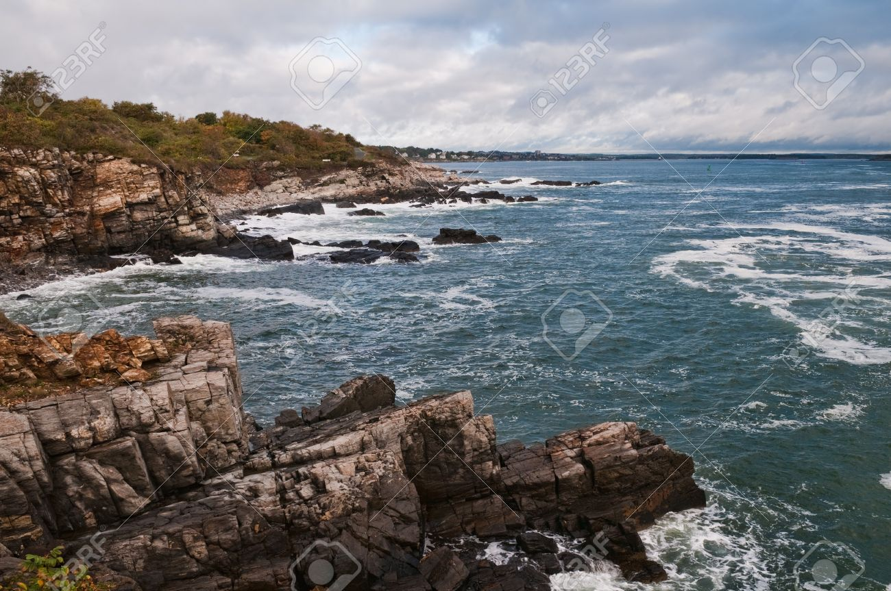 South Maine 8042900 Image Stock Photo Rocky Overcast Royalty Sky Portland And Coast Picture Free Image
