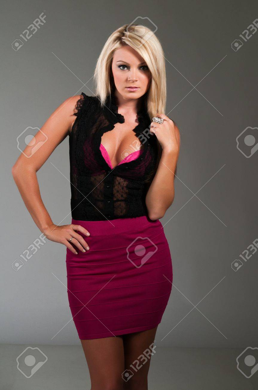 Beautiful Curvy Blonde Dressed In Black And Purple Stock Photo Picture And Royalty Free Image Image 10001591