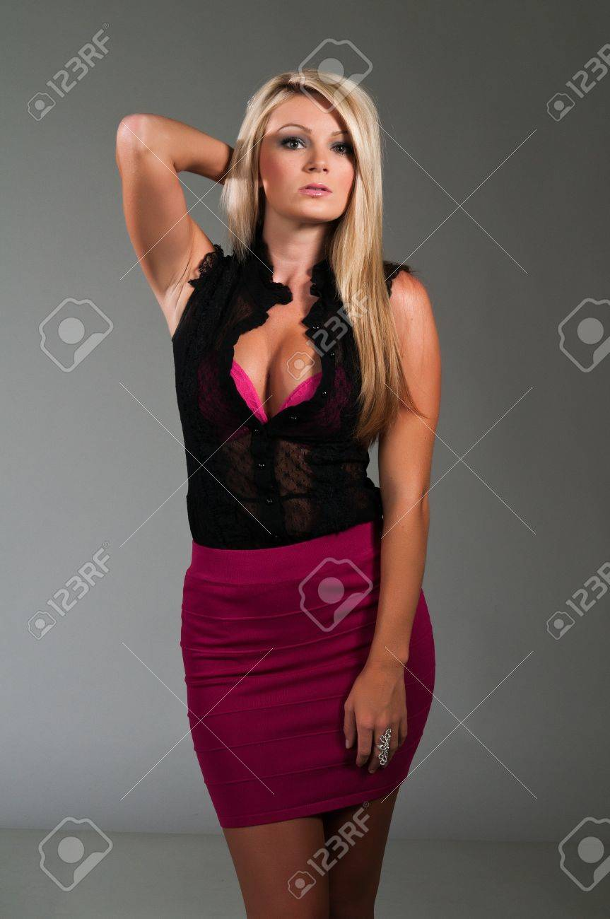 Beautiful Curvy Blonde Dressed In Black And Purple Stock Photo Picture And Royalty Free Image Image 10001592