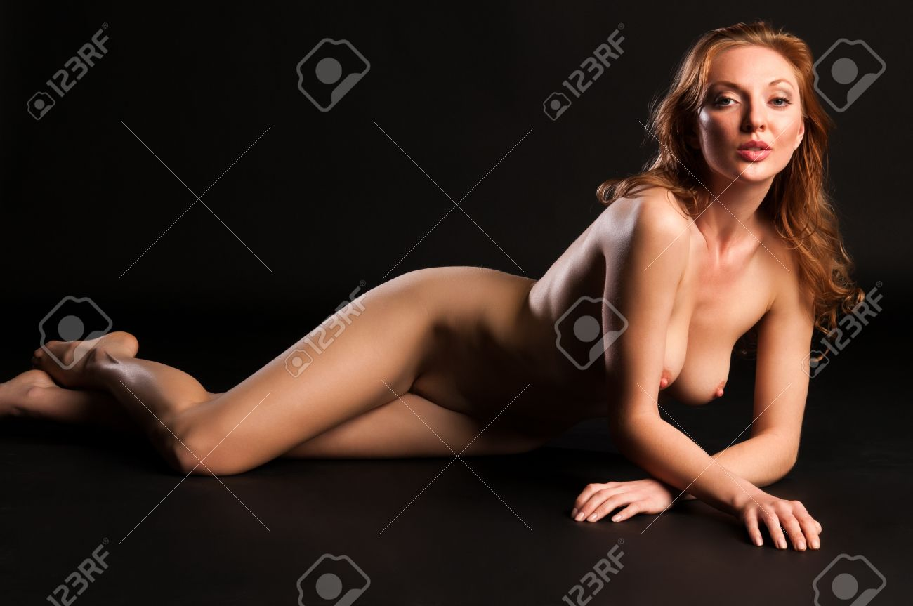 blonde black nudes - Beautiful tall nude blonde on a black background Stock Photo - 13091268