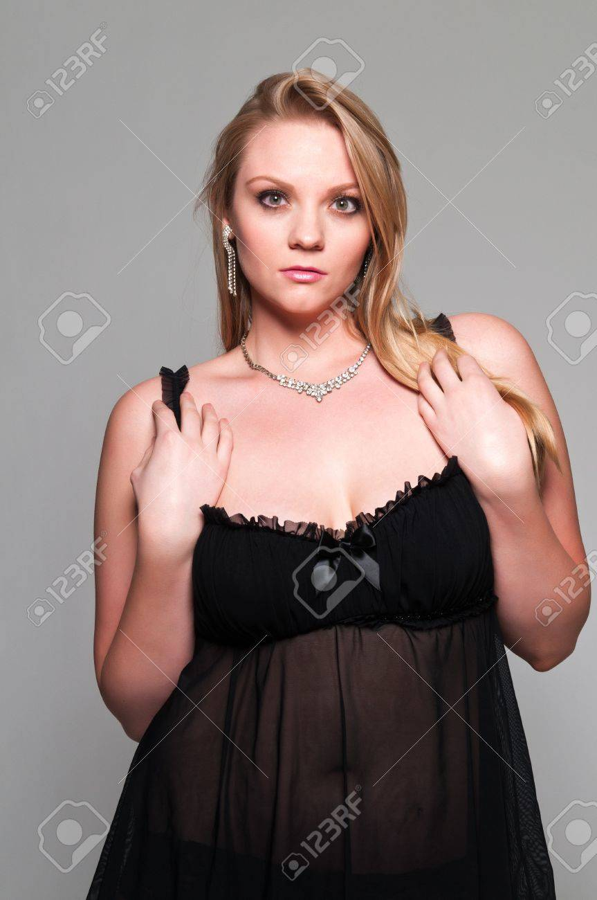 Pretty Young Plus Size Blonde In A Black Babydoll Stock Photo Picture And Royalty Free Image Image 13207057