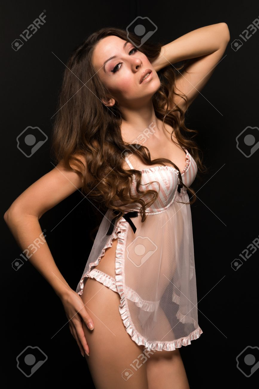 Stock Photo - Tall Moldovan woman in pink and white lingerie 6cb1ed4ce48d