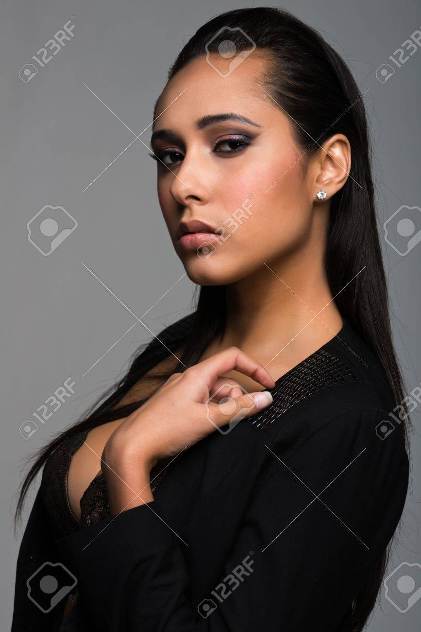 Beautiful young multiracial woman in antique green lingerie Stock Photo - 16889883
