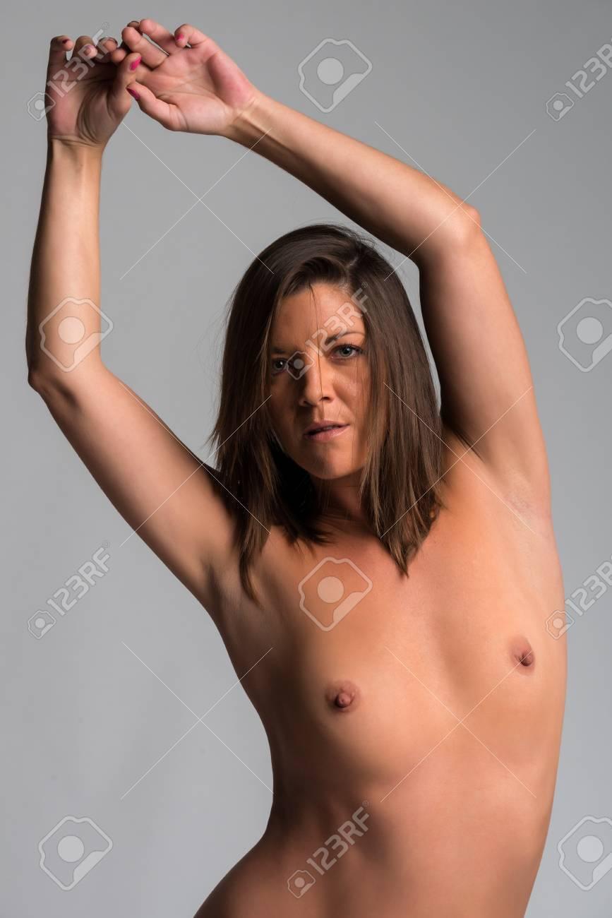 Tanned brunette nude
