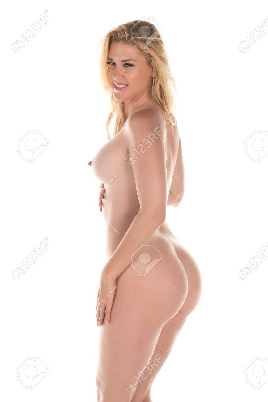 Tall blonde standing nude