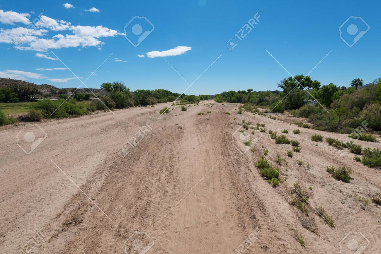 Dry Hassayampa River bed through Wickenburg, Arizona