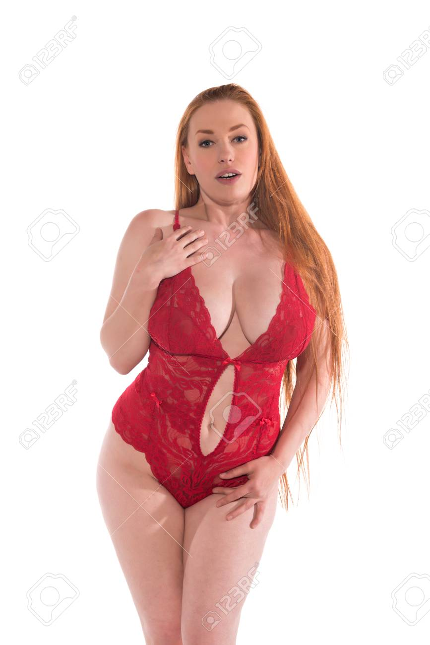 Curvy Young Redhead In A Red Lace Bodysuit Stock Photo Picture And Royalty Free Image Image 80767053
