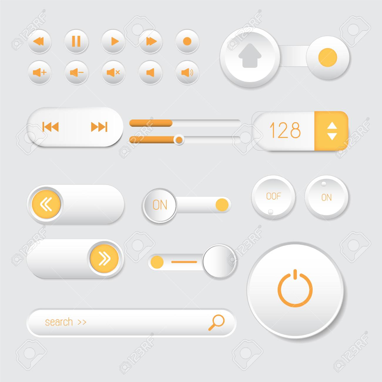 Rounded buttons set orange web