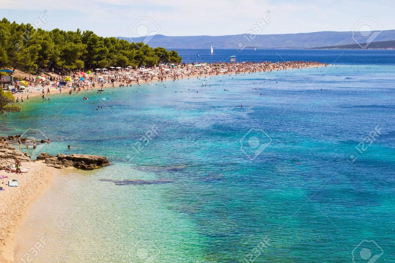 Beach Zlatni Rat In Bol Island Of Brac Croatia Stock Photo Picture And Royalty Free Image Image 64988341
