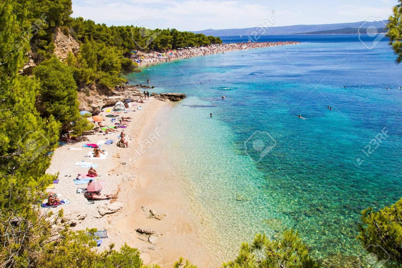 Beach Zlatni Rat In Bol Island Of Brac Croatia Stock Photo Picture And Royalty Free Image Image 64988343