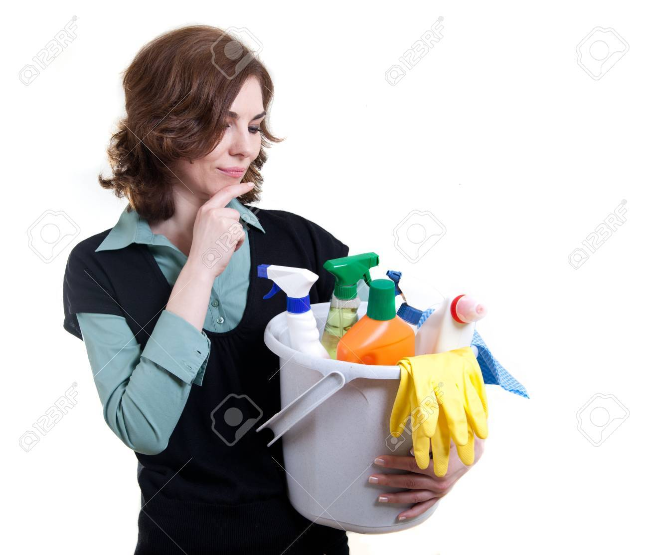 Cleaning woman thinking Stock Photo - 18359379