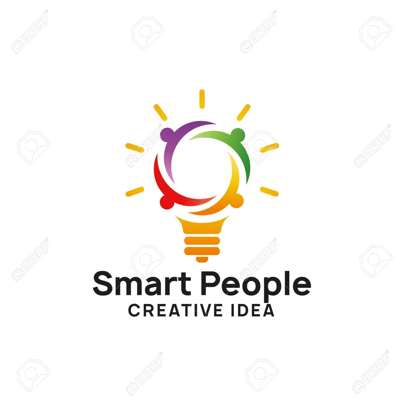 smart people logo design template. creative idea logo designs. bulb icon symbol design - 117595485