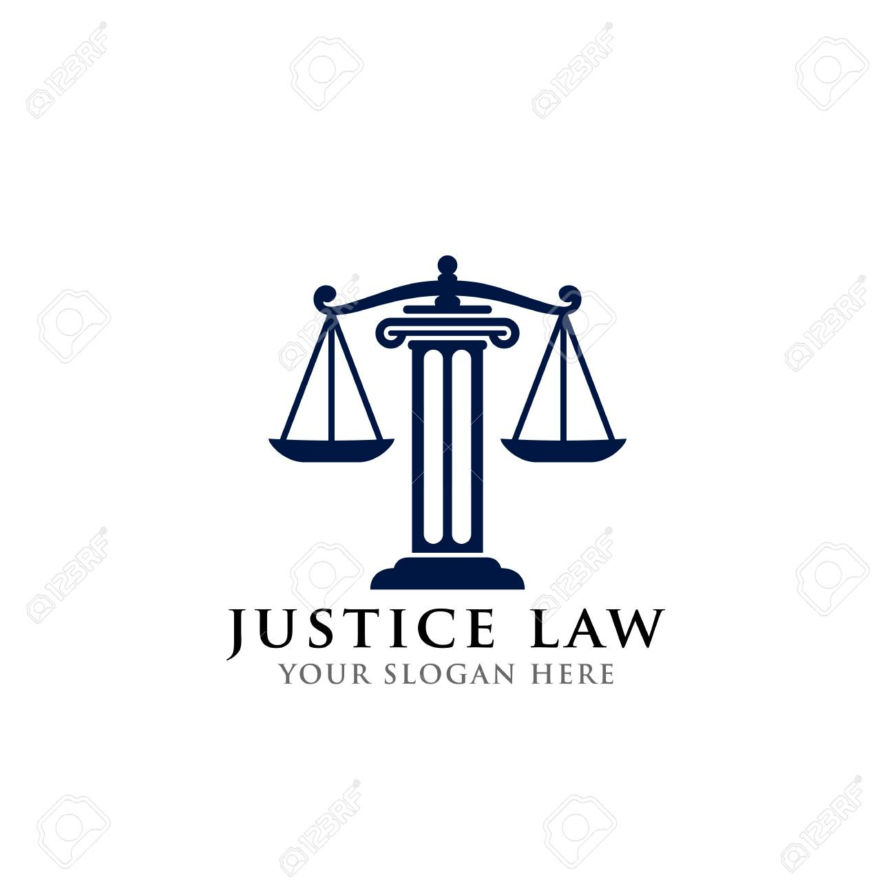 justice law logo design template. attorney logo vector design. scales and pillar of justice vector illustration - 117628874