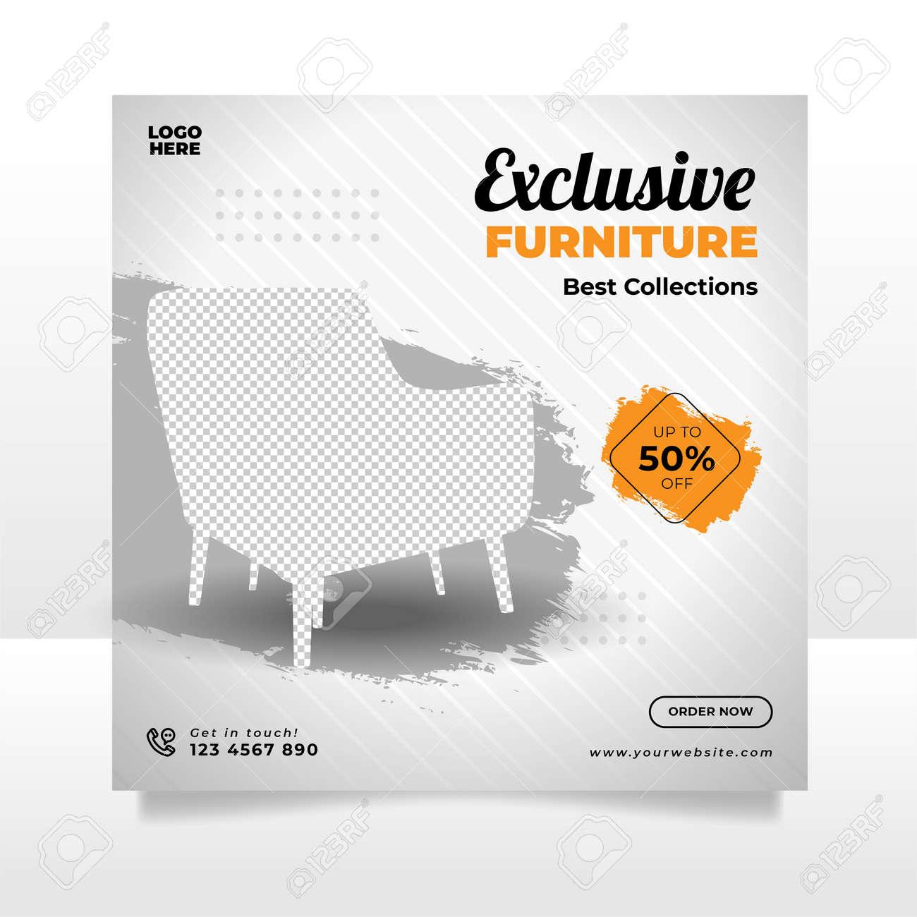 Minimalist furniture sale banner or social media post template - 166850214