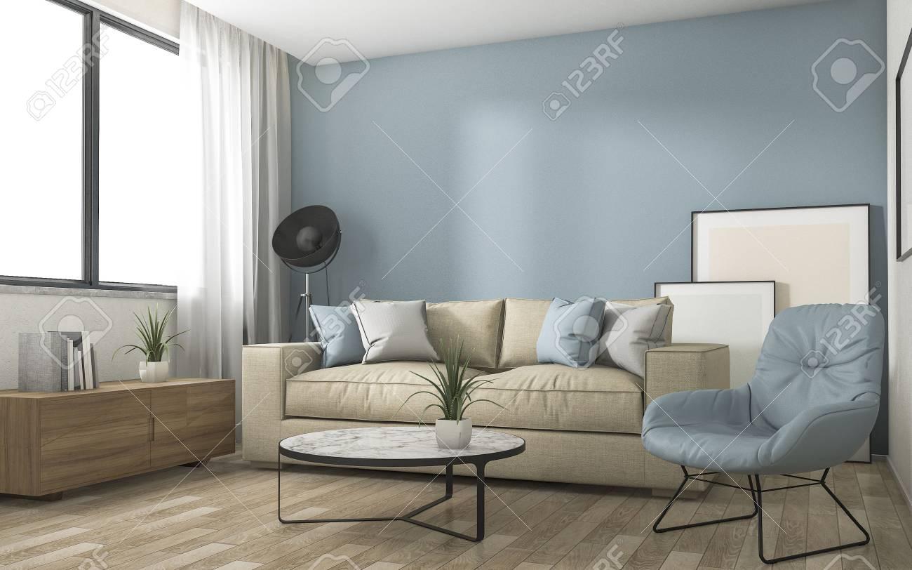 3D Rendering Blau Dekoration Wohnzimmer Mit Schönen Möbeln Standard Bild    64616742