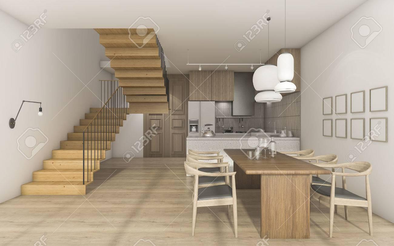 Eitelkeit Esstisch Küche Sammlung Von 3d-rendering Schöne Hölzerne Küche Küche Mit Standard-bild