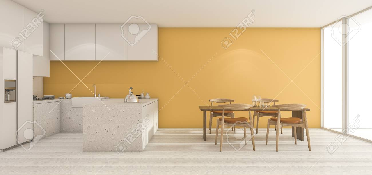 Rendu 3d Large Cuisine Murale Jaune Avec Table à Manger En Parfait