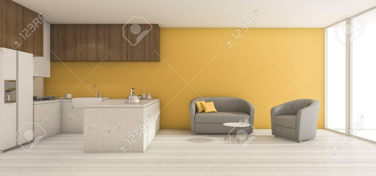Rendu 3D Minimal Jaune Salon Et Salle à Manger Avec Un Joli Décor ...
