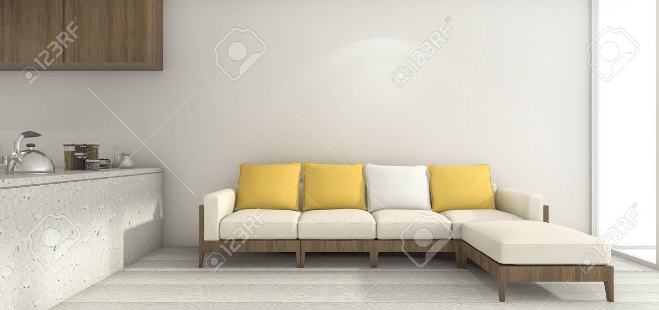 3d che rende sofà giallo nella cucina e nella sala da pranzo minime bianche