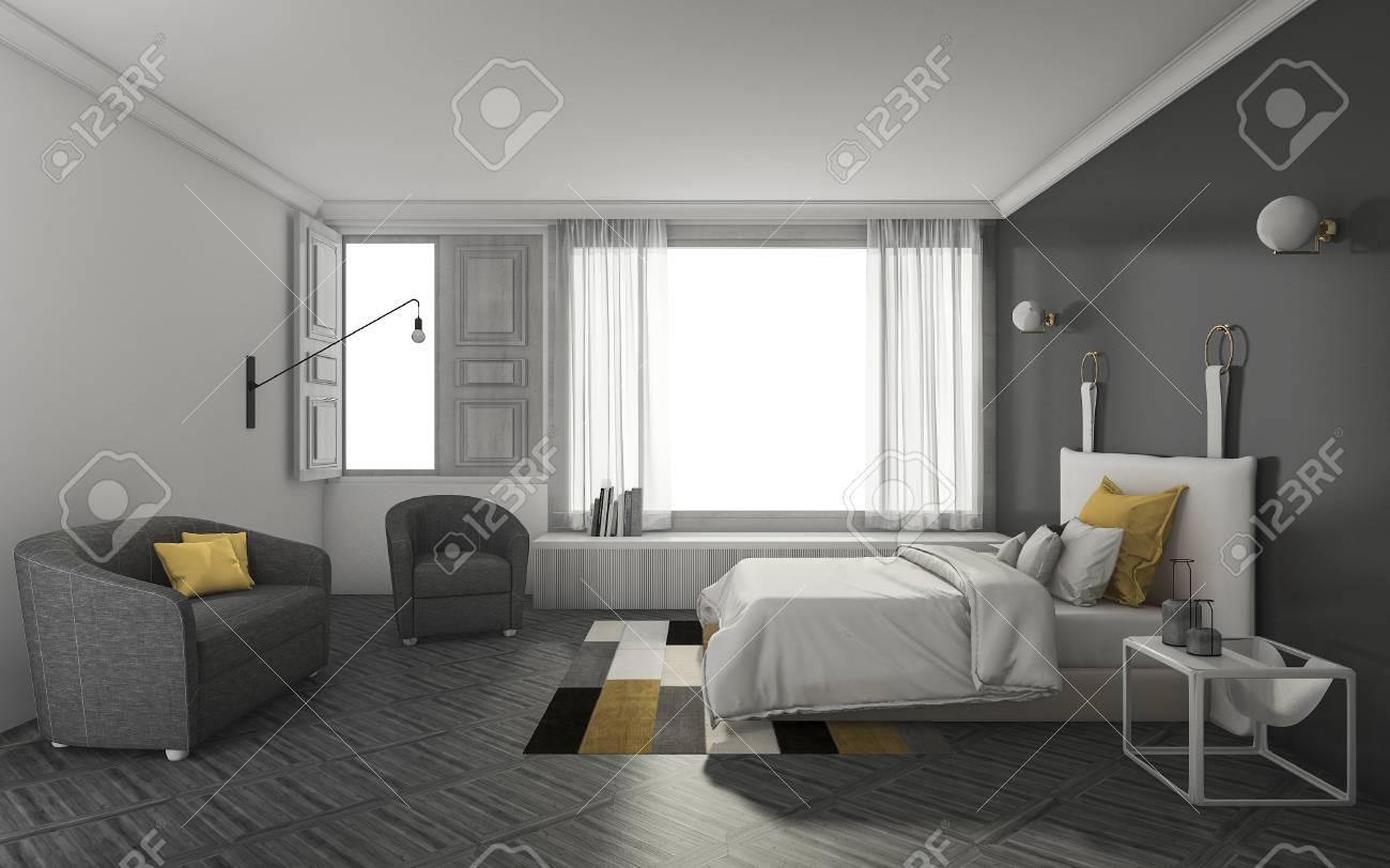 chambre de rendu sombre avec un mobilier doux et agréable banque d