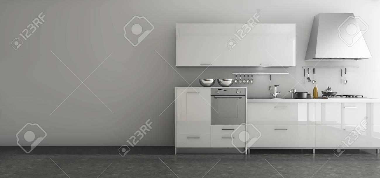 3d Rendering Nice Kitchen Set In Minimal Style Room Stock Photo