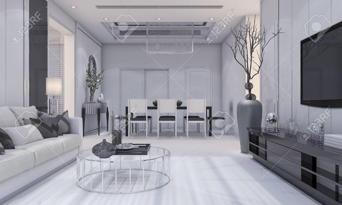 3d rendering beau design luxe moderne salon et salle à manger avec un  canapé gris et plateau de télévision et table à manger
