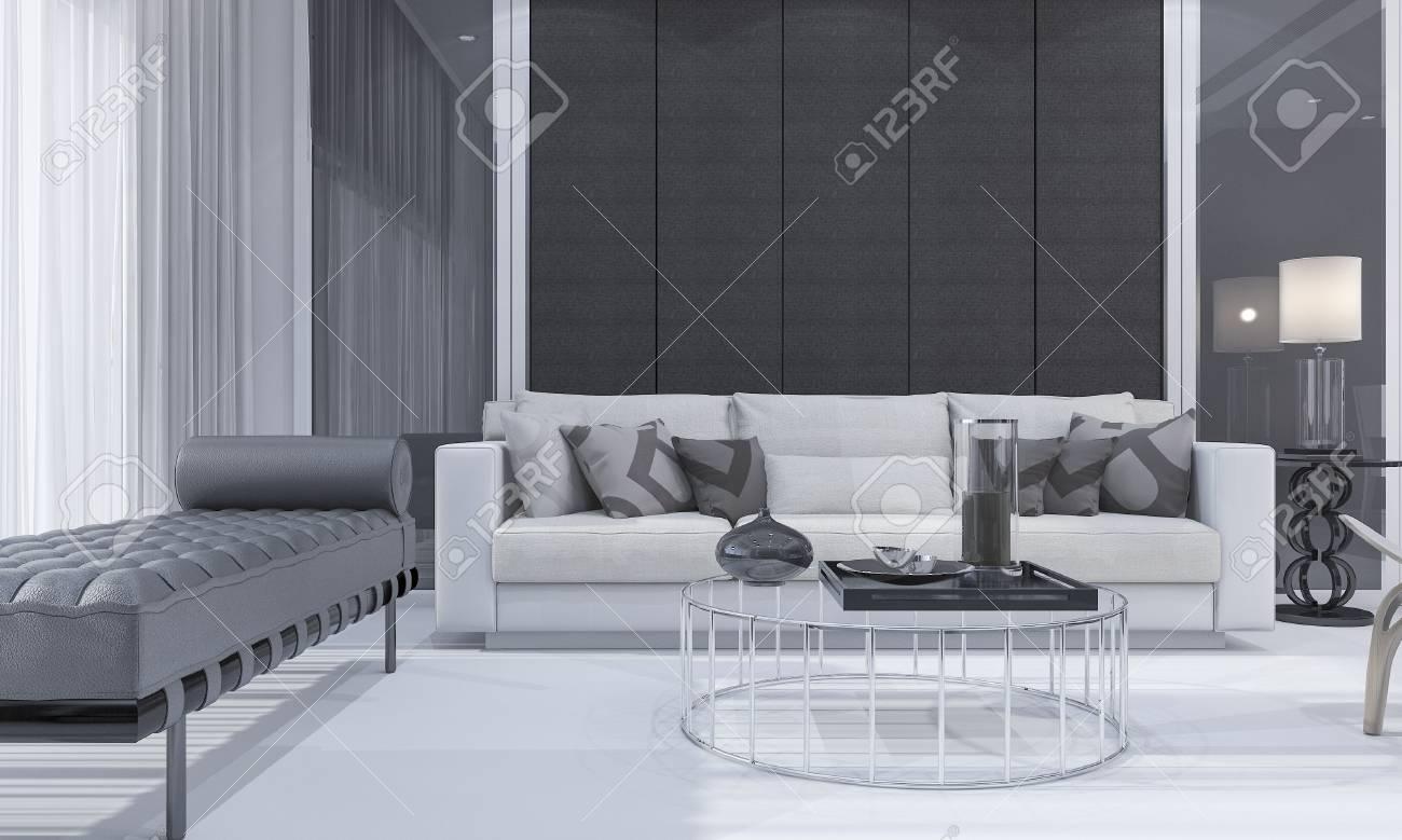 3D-Rendering Schönes, Modernes Und Komfortables Wohnzimmer Mit ...