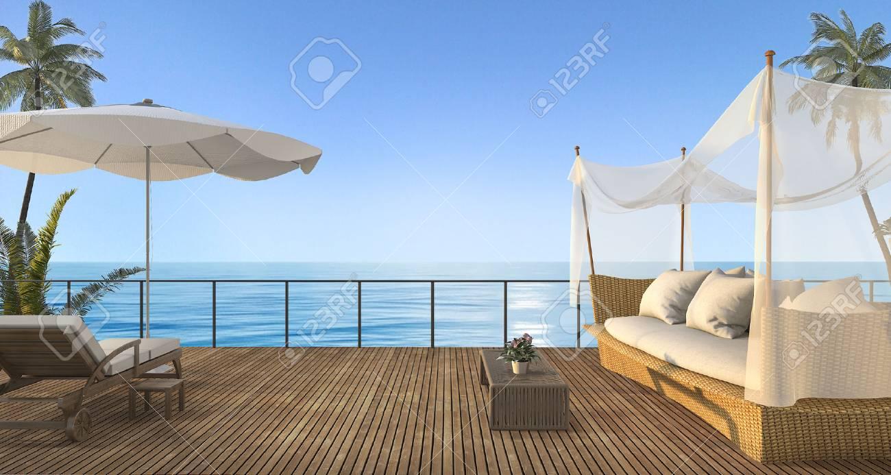 3d Que Rinde El Sofá De La Rota Del Vintage En La Terraza De Madera Cerca Del Mar En Verano