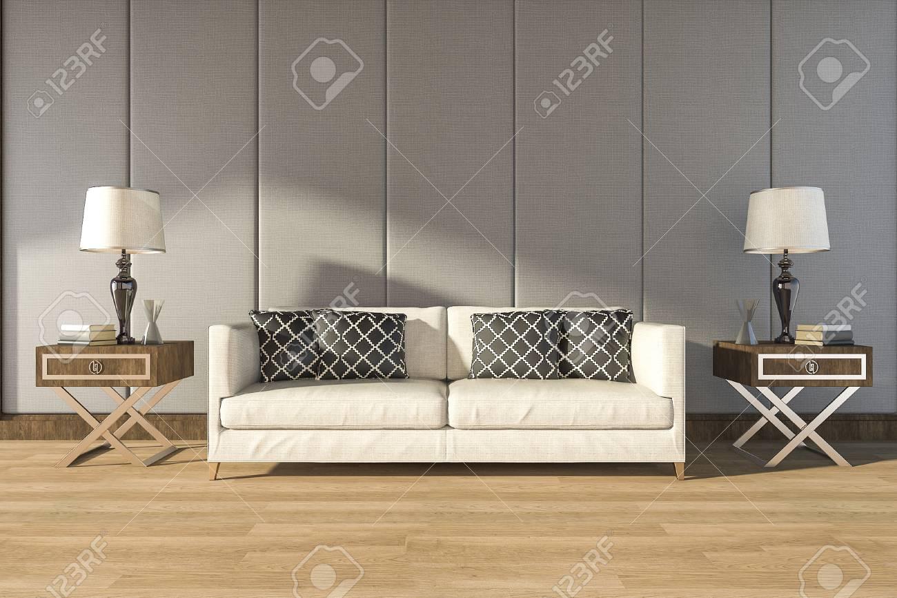 3d Rendering Comfortable White Sofa In Warm Room Fotografiya