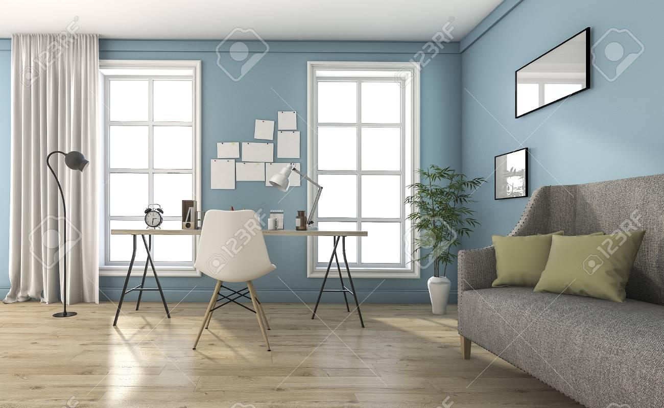 Rendu 3D Bleu Salon Vintage Avec De Beaux Meubles Et Décoration ...