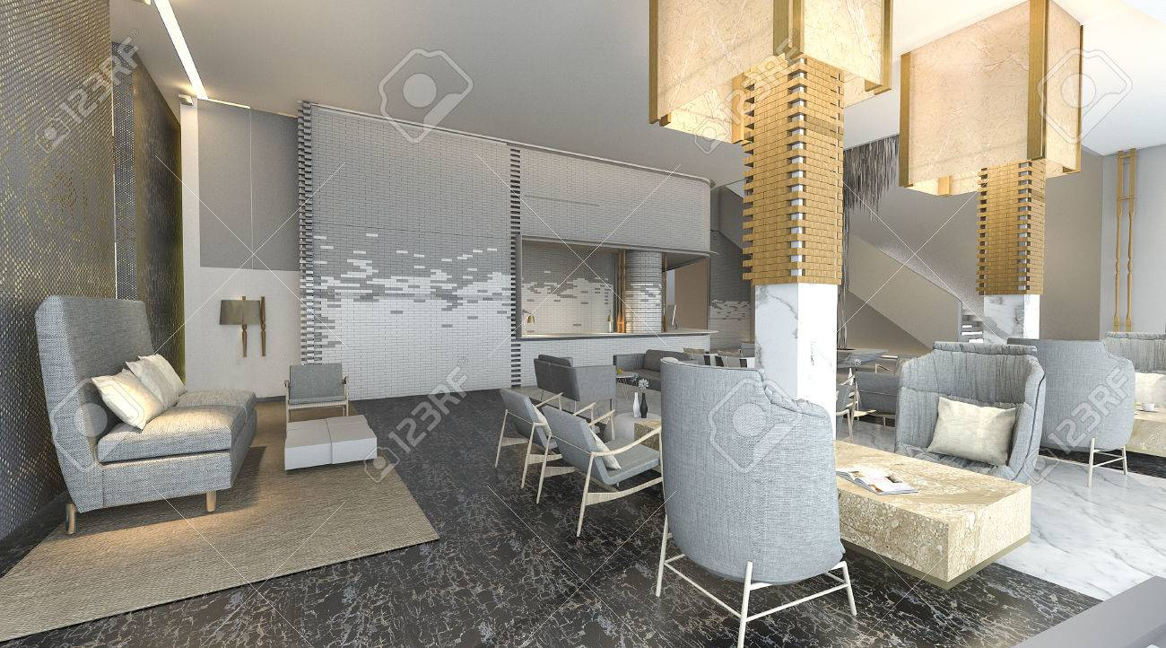 3d rendering beautiful and luxury hotel lobby with nice decoration stock photo 69966238