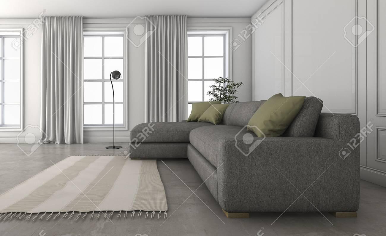 Canapé Confortable De Rendu 3D Dans Le Joli Salon Loft Banque D ...