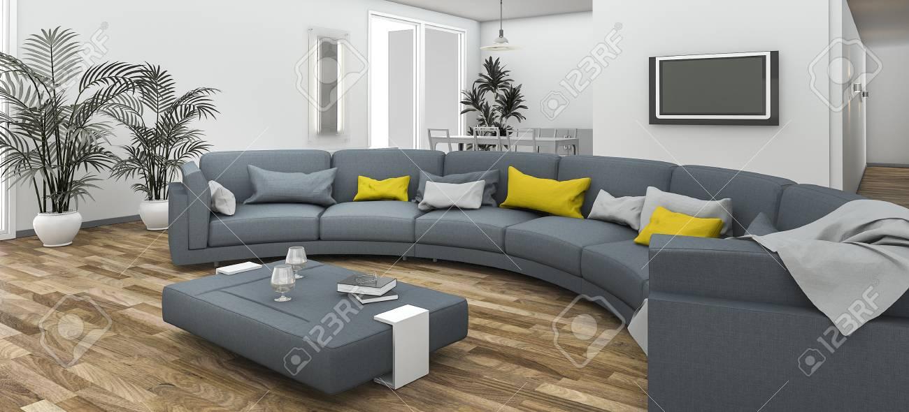 banque dimages rendu 3d beau canap courbe color avec plancher contemporain - Beau Canape