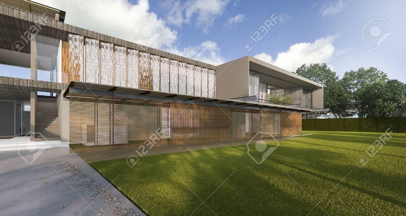 3D Rendering Schöne Moderne Stil Haus Mit Schönen Boden Lizenzfreie ...