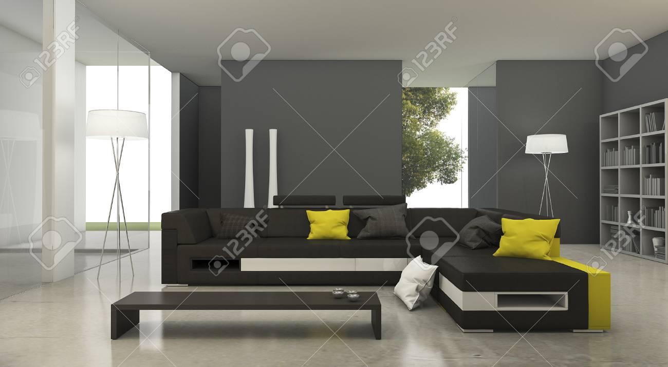 3D rendant moderne canapé en tissu jaune et noir dans un salon lumineux