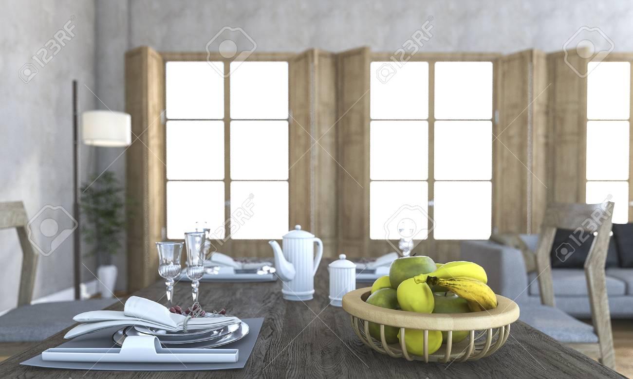 Procesamiento 3D Agradable Fruta Y Cena Conjuntos En El Comedor ...