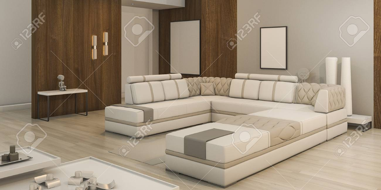 3d rendering wood texture living room with warm light and nice atmosphere - 67083243
