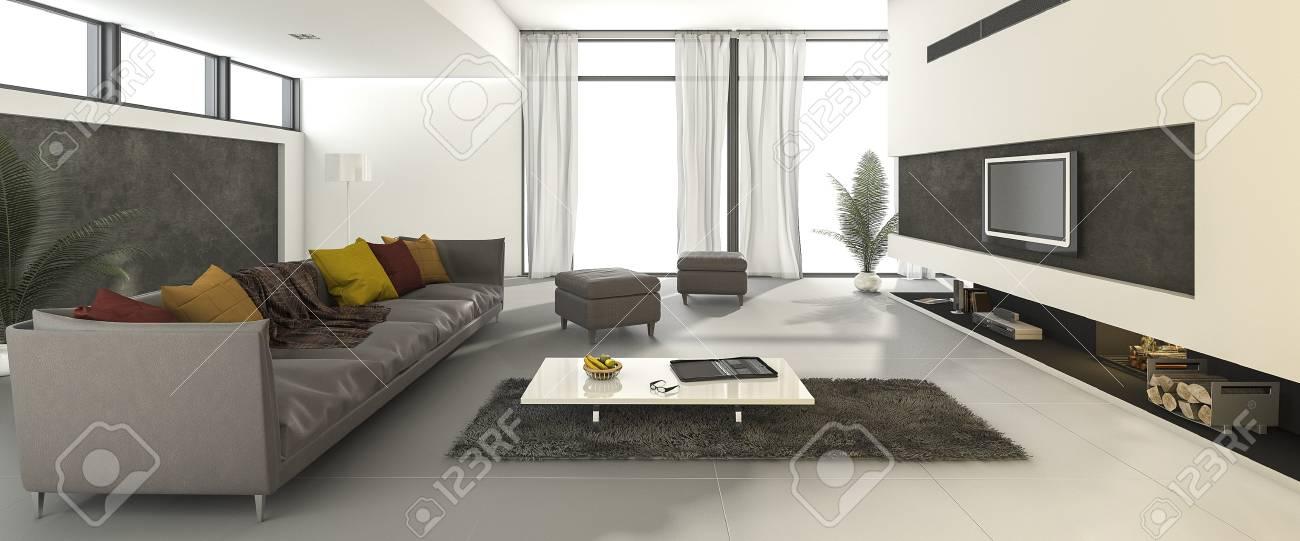 Rendu 3D Belle Propre Salon Moderne Avec Canapé Coloré Banque D ...