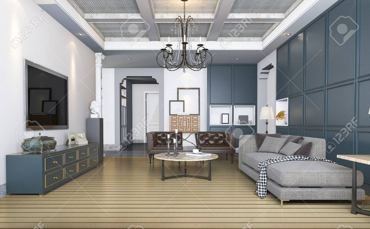 3d rendering classic and vintage living room with beautiful furniture