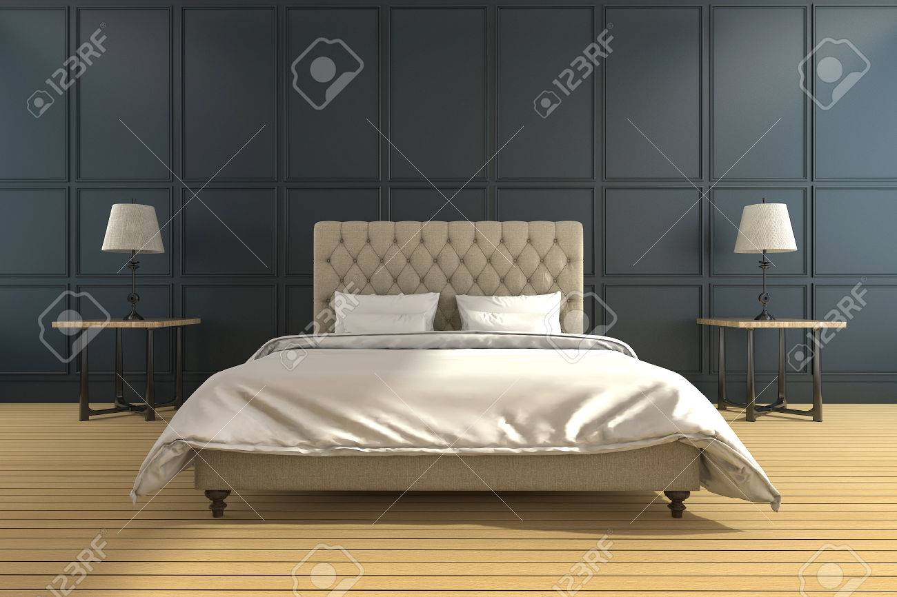 3d rendering classic and vintage green bedroom