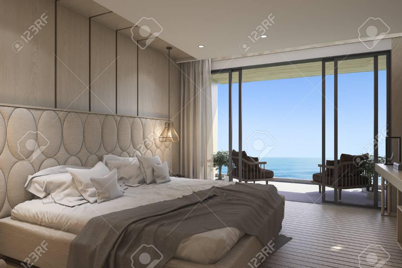3D Rendering Schöne Aussicht Aufs Meer Schlafzimmer Mit Luxus Design  Standard Bild