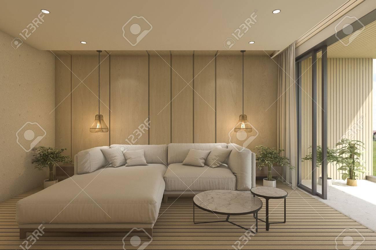 Salon contemporain 3D avec canapé près de la terrasse