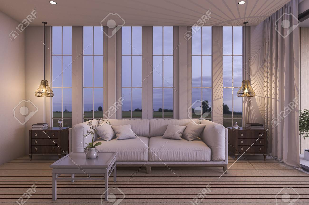 3d rendering white sofa in beautiful living room near sea in..