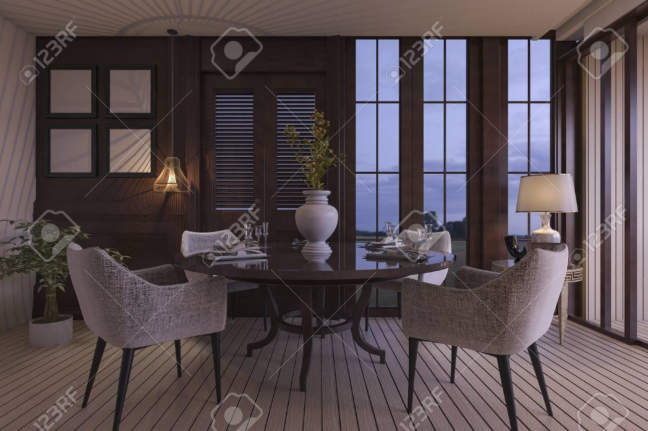 3d Rendering Luxus Esszimmer Mit Schonen Mobeln In Der Dammerung