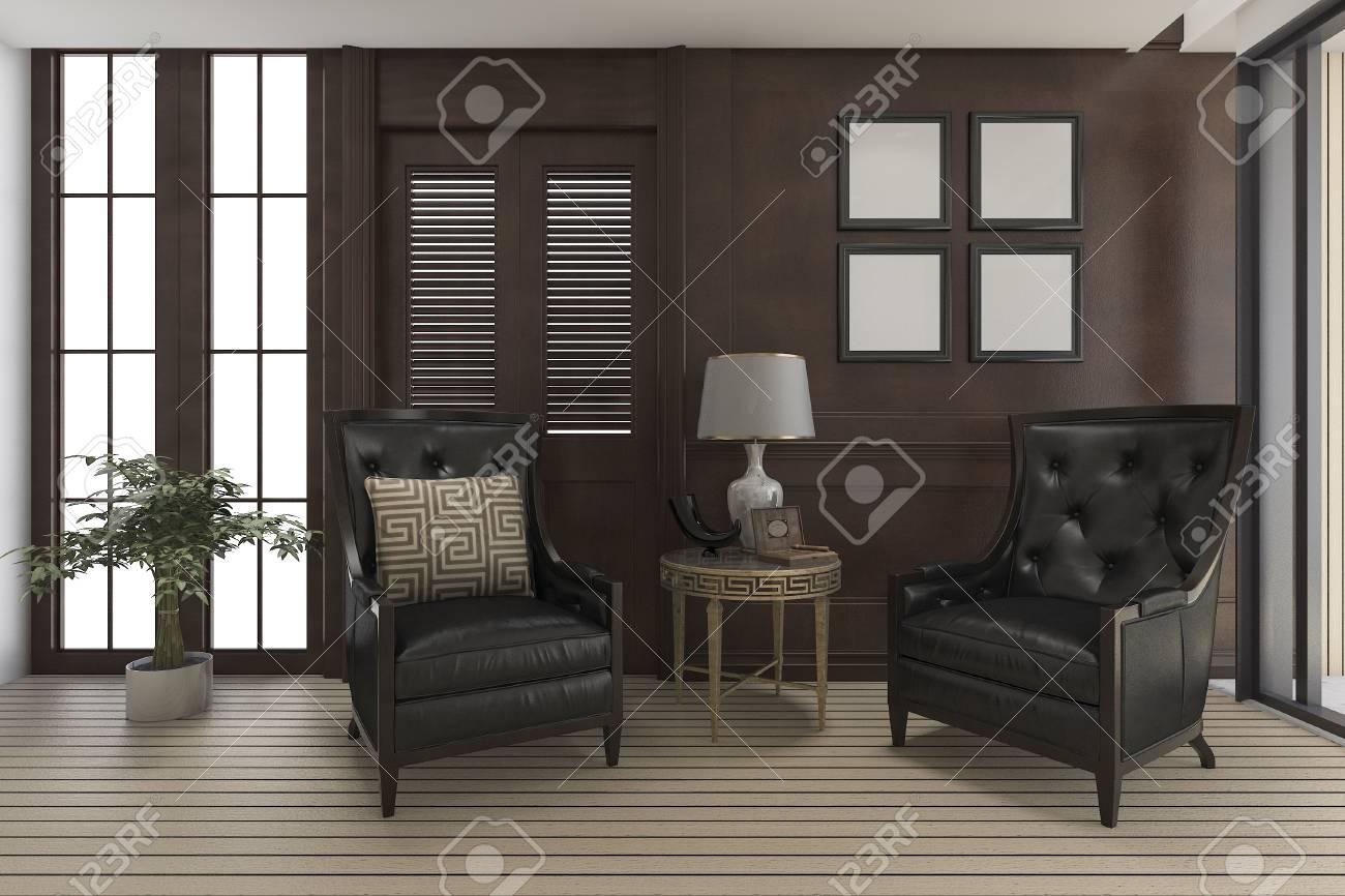 3D Rendering Luxus Wohnzimmer Mit Klassischen Möbeln Standard Bild    67975515