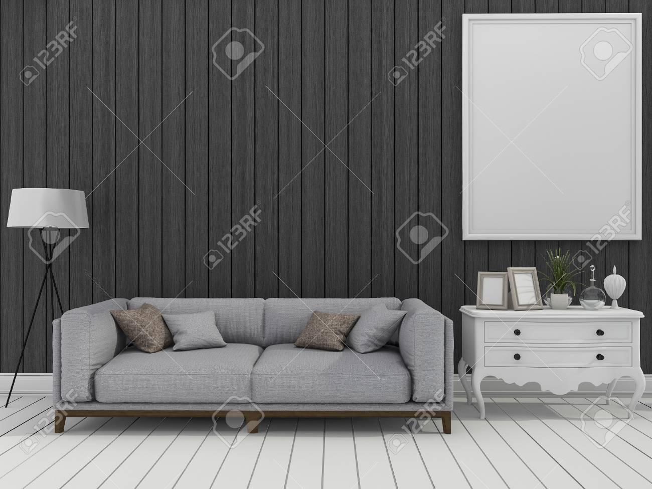 3d che rende soggiorno moderno scuro della parete con il sofà